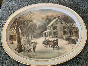 Tray CURRIER AND IVES quot;American Homestead Winterquot; $5.70