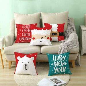 Christmas Home Case Santa Polyester Claus Tree Merry Cushion Cover Pillow U6X6 $3.66