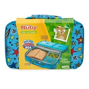 Nuby Boys Insulated Bento Box Travel Friendly Lunchbox Leakproof BPA Free