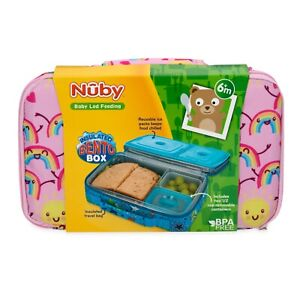 Nuby Girl Insulated Bento Box Travel Friendly Lunchbox Leakproof BPA Free