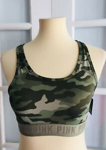 New VICTORIA#x27;S SECRET PINK Camouflage ULTIMATE SPORTS BRA Push Up Size S O3147