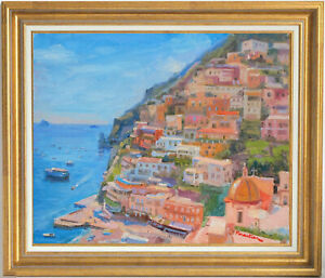 SEASCAPE IN POSITANO ITALY LISTED ARTIST ORIGINAL OIL PAINTING BY MARC FORESTIER $295.00