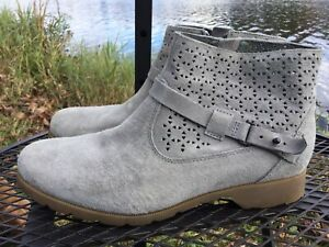 TEVA #1010105 Womens 9M Delavina Perforated Gray Waterproof Suede Ankle Boot EUC $32.00