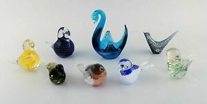 Swedish and other glass artists including Reijmyre. Eight figures of birds