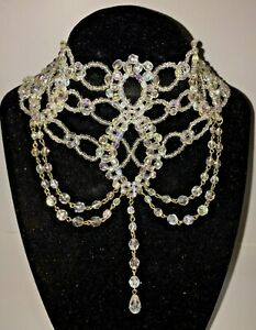 Antique Victorian High Collar Beaded Choker Necklace GBP 55.00