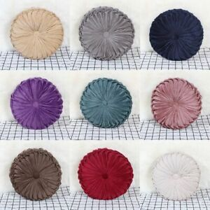 Velvet Pleated Round Pumpkin Pillow Couch Cushion Pillow Home Sofa Bed Decor $17.99
