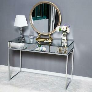 Mirrored Makeup Table Mirrored Desk Vanity Furniture Console TableGlass Silver $153.90