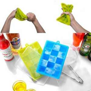 NEW Silicone Cube Tray with Lid 15 Cubes Storing Freezing Baby Food Ice ftdd $18.59