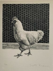 Scott Fraser Hand Drawn Stone Lithograph quot;Hen 1981quot; $200.00