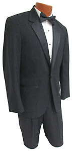 Men#x27;s Black One Button Tuxedo with Pants Clearance Discount Cheap Prom Tux 40R