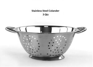 High Quality Stainless Steel Deep Colander Strainer 3 Quart