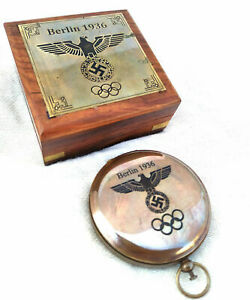 Brass Berlin 1936 Olympic compass push button compass antique with box $19.89