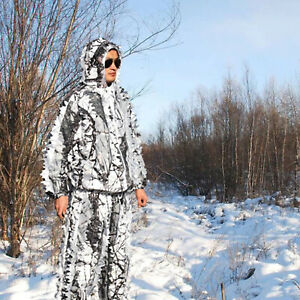 3D Leafy Camo Hooded Camouflage Clothing Ghillie Suits Set for Hunting Snow Wild