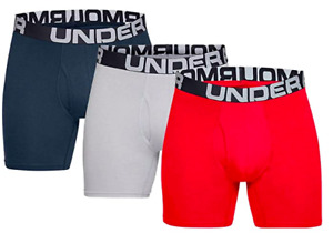 UA 3 Pack 6 Inch Mens Boxerjock Underwear Charged Cotton Navy Red Under Armour $29.99