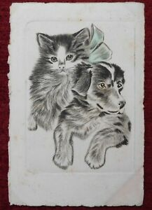 ANIMAL ARTIST POSTCARD DOG CAT FRIENDSHIP 1927 $10.00