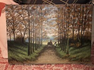 vintage painting nail sides antique canvas oil? 13 inch by 18 inch signed $39.99