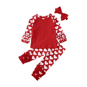 USA Valentine Baby Girls Heart Print Raglan Sleeve Tops Ruffle Pants Bow Outfits $19.69