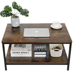 Rustic Wood Coffee Table Rectangular Coffee Table with Storage Shelf Durable 31