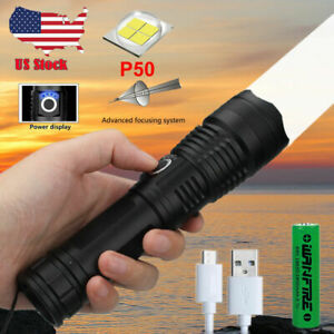P50.2 Powerful Flashlight 5 Modes USB ZOOM Led Torch Best Camping Outdoor US