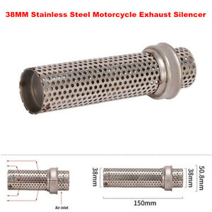 38MM Stainless Motorcycle Exhaust Low Muffler Baffle Insert Mesh Pipe Silencer $17.99