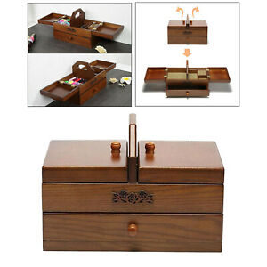 Protable Large Sewing Basket for Professional Accessories Vintage Wooden Sewing $156.03