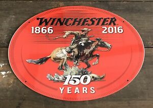 WINCHESTER Firearms 150 Year Anniversary Oval Tin Metal Sign 12�x16.5� $29.75