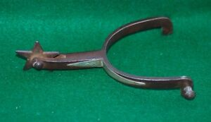 Antique Silver Mounted Iron Goose Neck one Spur with Texas Star Rovel c1890s