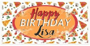 Pizza Party Food Birthday Banner Personalized Decoration Backdrop $39.50