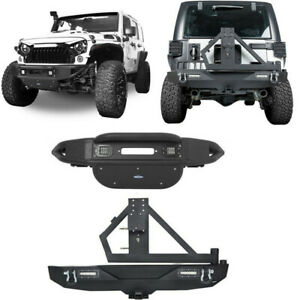 Front Rear Bumpers w Winch Plate Tire Carrier For Jeep Wrangler JK 2007 2018 $309.49