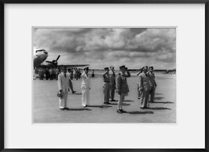 1950 photograph of Vietnam: French military at attention at airport