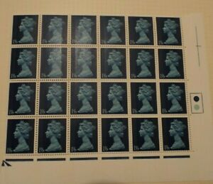 GB 1967 Pre Dec Machin 1 6 Greenish Blue SG 743 Corner Block Of 24 UM