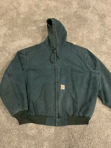 Vintage Carhartt Jacket Size 3XL Hooded Zip Up Green USA Made Quilt Lined Kanye