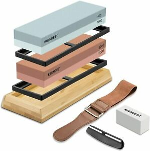 Professional Kitchen Sharpening Stones Whetstone 2 Side 4 Grit Sizes Angle Guide $54.95