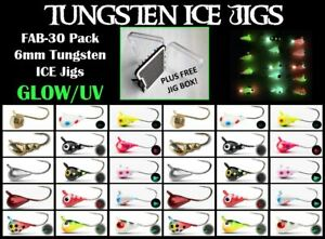 28pk Tungsten 6mm Ice Fishing and Fly Jig w Free Jig Tackle Box #8 hook Crappie