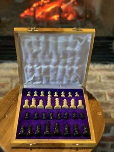 "Marble Stone Unique Hand Carved Chess Set Portable Board Storage Box 10""x10"" $65.00"