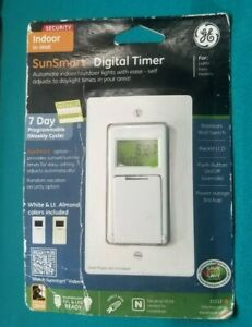 GE SunSmart 3 Way Digital In Wall Timer Model 15312 White CFL LED Neutral Wire $24.99