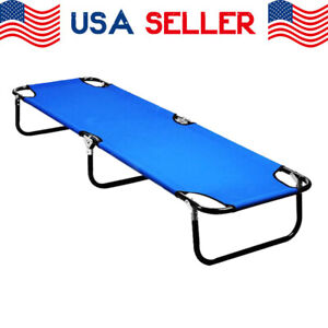 Portable Sleeping Chaise Lounge Outdoor Folding Bed Camping Cot Patio Hiking