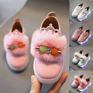 Boys Girls LED Children Baby Toddler Kids Light Up Trainers Lace Up Shoes $20.04