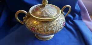 Vtg Hand Painted Gold Beaded Moriage Footed handled sugar bowl Nippon