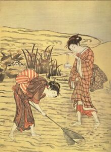 Two girls fishing in shallow water Japanese Art