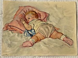 Vintage 1950s SLEEPING BABY Unframed LITHOGRAPH Print 6quot;X 8quot; $19.99