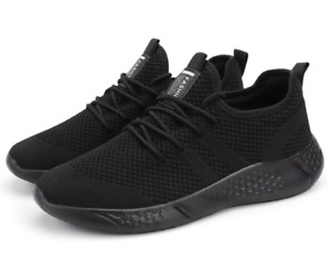 2x Black Mens Sport Gym Running Shoes Walking Shoes Casual Lace Up Lightweight $100.00
