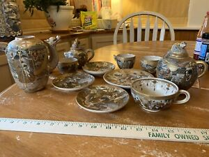 Old Whole Lot Of Marked Japanese Satsuma Tea Ware Damages But Magnificent