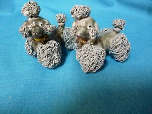 PAIR SPAGHETTI POODLE DOG GREY IN COLOR MINIATURE MADE IN JAPAN