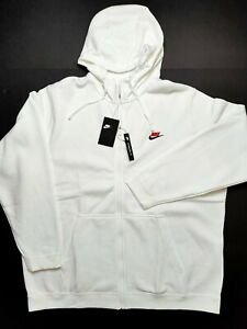 Nike Sportswear Club Fleece Full Zip Mens Size 3XL White Red Hoodie 804389 101 $59.99
