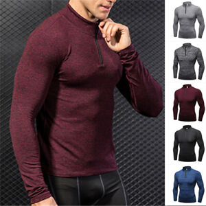 Mens Long Sleeve Compression Mock Neck Half Zip Workout Gym Cool Dry Shirt Tee $17.98