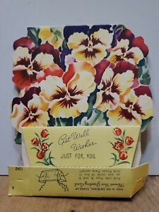 Antique Stand Up 3D Flower Box Greeting Card Get Well Wishes 1920s Never Used $4.99
