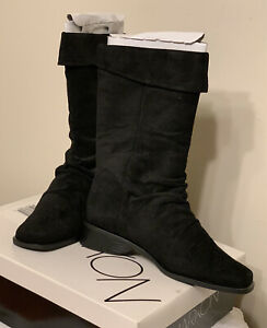 Womens Boots Black Suede Mid Calf Pull On Flat Heel 8M New Markon $11.99