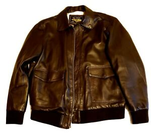 Landing Leathers AIR FORCE Military Flight Leather Bomber Jacket brown men#x27;s xl
