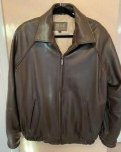 BROWN LEATHER JACKET EXCELLENT CONDITION MEN FREE SHIPPING